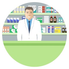 Web banner round shape of a pharmacist. Young man in the workplace in a pharmacy: standing in front of shelves with medicines. Vector illustration