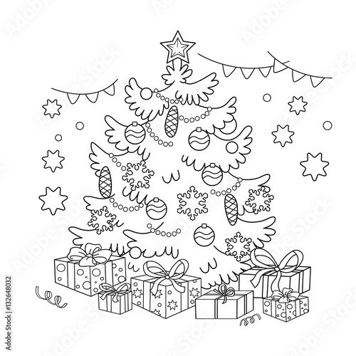 Coloring Page Outline Of Cartoon Christmas Tree With Ornaments And