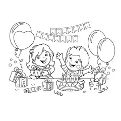 Coloring Page Outline Of children with a gifts at the holiday. Birthday. Coloring book for kids