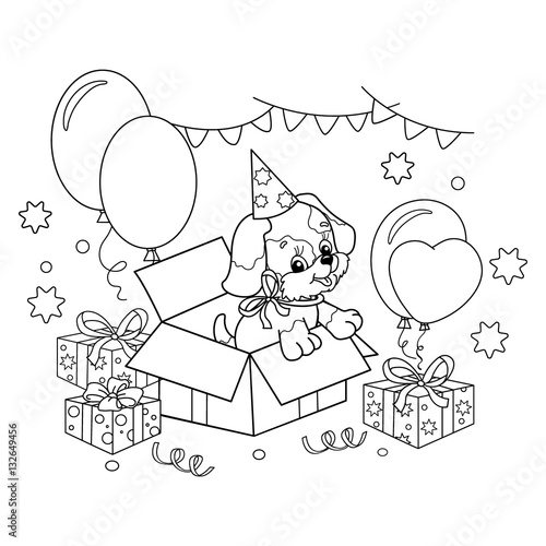 Coloring Page Outline Of cute puppy. Cartoon dog with bow. Gift for ...