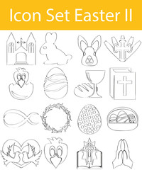 Drawn Doodle Lined Icon Set Easter II
