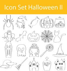Drawn Doodle Lined Icon Set Halloween II