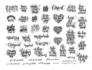big set of black and white handwritten lettering positive