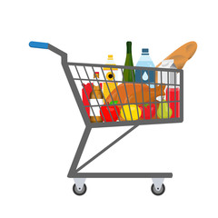 Shopping trolley full of food, products and goods. Vector illustration