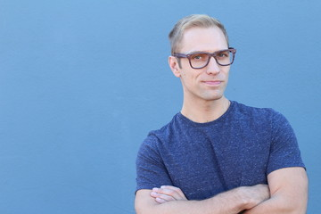 Handsome male with glasses portrait with copy space