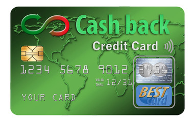 Cash back credit cards reward the user with cash returned for using the card to make purchases. Here is a mock, generic cash back card isolated on the background.