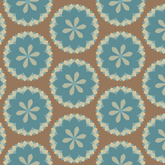 Seamless Floral Vector Pattern, Brown and Blue, Repeat Pattern