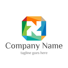 Rainbow Square Initial N Logo