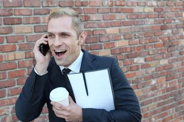 Hilarious cute businessman showing surprise