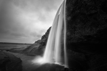 Monochrome Waterfall Scene