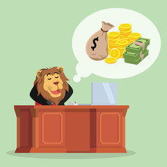 business lion thinking about money