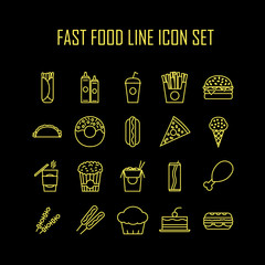 Set of line icons with fast food