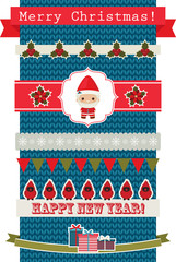 Christmas and New Year's ribbons and banners over knitted backgr