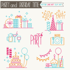 Party/birthday line art icons