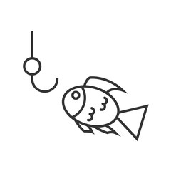 Fishing icon or logo line art style.
