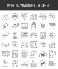 Marketing icons. Advertising and media signs.