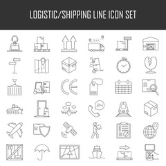 Logistic icons. Warehouse and shipping equipment.