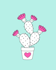 cactus in the flower pot with pink heart