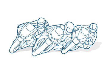 Motorcycles racing outline graphic vector