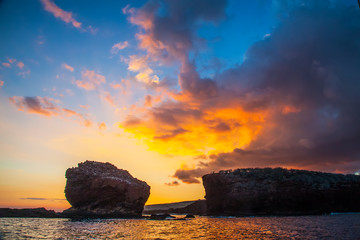 Sunset on Lanai, Hawaii. Sweetheart rock.  Puu Pehe.