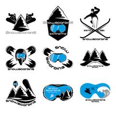 Set Snowboarding logo design template elements