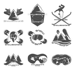 Set Snowboarding logo design template elements
