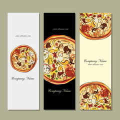 Banners design with pizza sketch