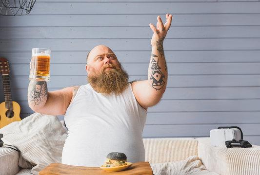 Man is grateful for beer