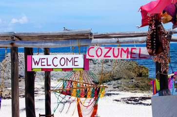 Welcome to Cozumel Sign on a Beach