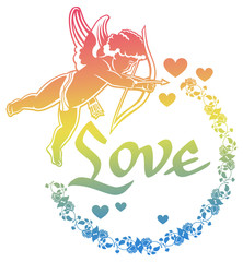 "Cupid with bow hunting for hearts. Color gradient round label with Cupid, roses, hearts and single word ""Love!"". Raster clip art."