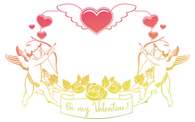 "Cupid with bow hunting for hearts. Color gradient frame with Cupid, roses, hearts and artistic written text ""Be my Valentine!"". Raster clip art."