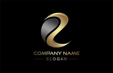 logo letter e in gold