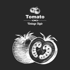 Vector background with tomato . Hand drawn. Vintage style