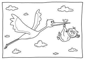 Ausmalbild Storch mit Baby