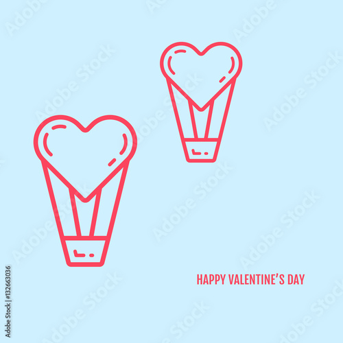 Vector Illustration Of Valentines Day Concept In Flat Bold Line