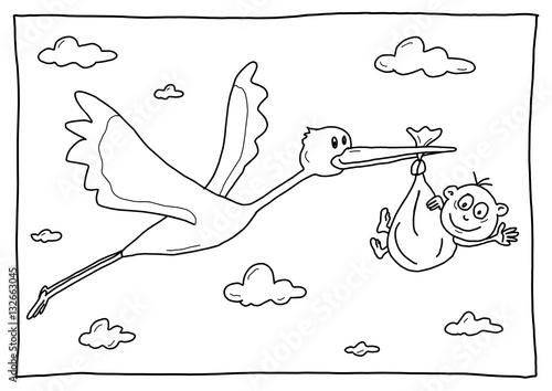 Ausmalbild Storch Mit Baby Stockfotos Und Lizenzfreie Bilder Auf
