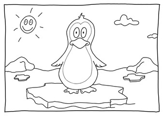 Ausmalbild Pinguin