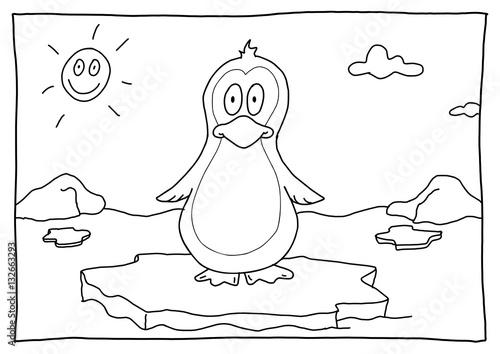 Ausmalbild Pinguin\