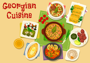 Georgian cuisine meat and vegetable dishes icon