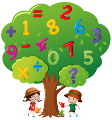 Kids watering the tree with numbers