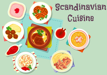 Scandinavian cuisine dish with berry dessert icon