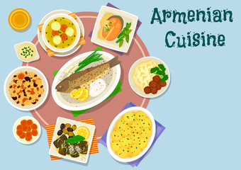 Armenian cuisine dinner icon for menu design