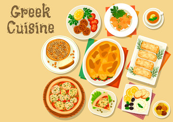 Greek cuisine healthy lunch icon for food design