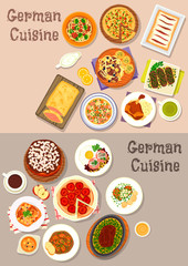 German cuisine meat dishes with dessert icon set