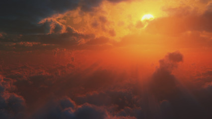 Dramatic impressive view from heaven with bright sun and clouds