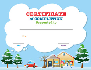 Certificate template with kids in winter