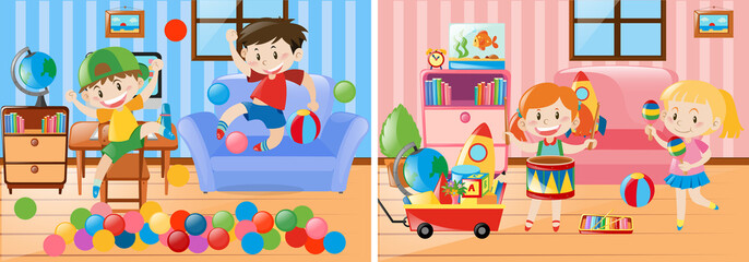Two scenes of kids playing in the living room
