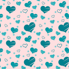Seamless pattern with blue hearts placed randomly on pink background. Filled with brush strokes and only with outer line.