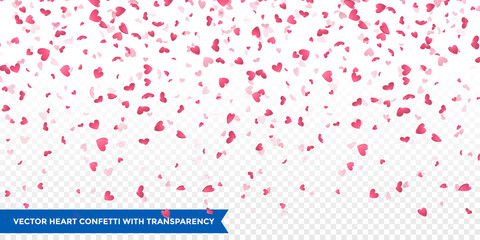 Pink hearts petals falling vector Valentine background