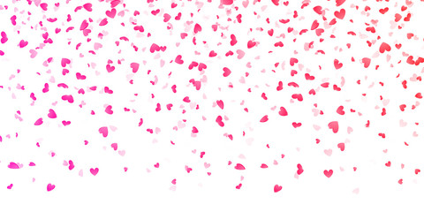 Valentines pink hearts petals falling vector background